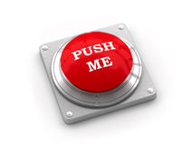 Alarm button with inscription. Red alarm button on metal plate Royalty Free Stock Images