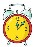 Alarm clock 01. Red and yellow alarm clock Stock Photo