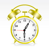 Alarm Clock. Gold Alarm Clock : Time at 1:30 and 45 seconds Stock Images