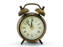 Alarm clock. Retro style alarm clock on white background Stock Images