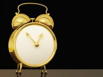 Alarm clock. A 3D rendering of a gold alarm clock with two large alarm bells on the top Royalty Free Stock Photography