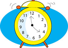 Alarm Clock. Ringing with two clappers on blue background Stock Photos