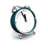 Alarm clock. Turquoise alarm clock isolated on white background Stock Images