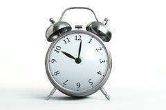 Alarm clock. 3D illustration of Metallic alarm clock isolated on white background Royalty Free Stock Image