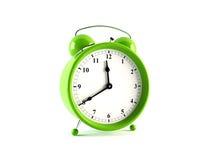 Alarm clock. 3D rendering of a stylish green alarm clock Royalty Free Stock Photo