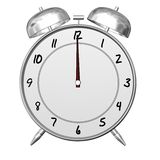 Alarm Clock. An antique looking alarm clock, viewed from the front at 12 o'clock sharp stock illustration