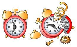 Alarm-clock. Broken alarm-clock; icon; vector illustration Stock Photos