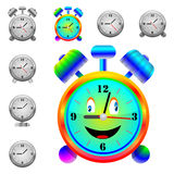 Alarm clock. A small collection of modern alarm clocks and one hilarious alarm for various necessities Royalty Free Stock Photo