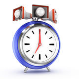 Alarm clock. With speakers on white background. 3d rendered image Royalty Free Stock Photos
