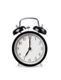 Alarm clock. Black alarm clock on white background Royalty Free Stock Images