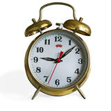 Alarm clock. With two cups stock images