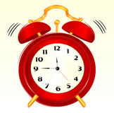 Alarm-clock. Sketch of a red alarm-clock ringing stock illustration