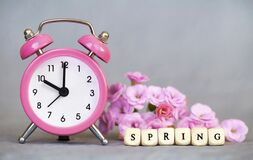 Free Alarm Clock And Flowers, Spring Forward, Daylight Savings Time Concept Stock Image - 173144671