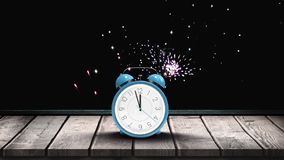 Alarm clock with animated fireworks vector illustration