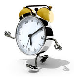 Alarm clock with arms and legs running Stock Images