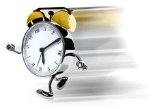 Alarm clock with arms and legs running Royalty Free Stock Images