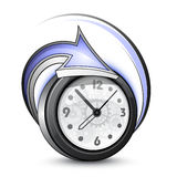Alarm clock and arrow Stock Photos