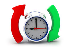 Alarm clock with arrow circle. 3d render of Alarm clock with arrow circle Royalty Free Stock Images