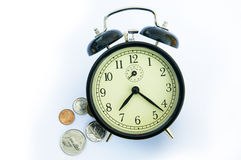 Alarm clock, autumn leafs and coins. Stock Photography