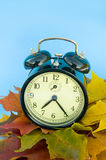 Alarm clock and autumn leaves Stock Images