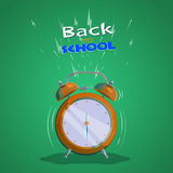 Alarm clock back to school. Illustration with a ringing alarm clock. Back to school. Flat design. Vector illustration Stock Image