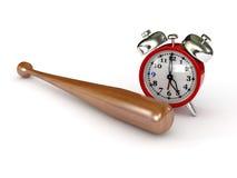 Alarm clock and bat Stock Photography