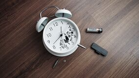 Alarm clock with battery removed