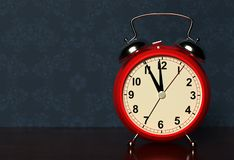 Alarm clock on bedside table. 3D stock photography