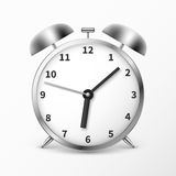 Alarm clock with bells, ringing timer vector illustration. Clock  on white background, mechanical clock Stock Photography