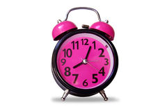 Alarm clock black pink color -  object on white Royalty Free Stock Images
