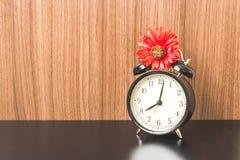 Alarm clock on Black table Stock Image