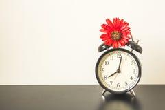 Alarm clock on Black table Royalty Free Stock Photos