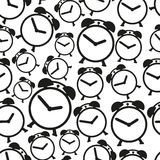 Alarm clock black and white icons seamless pattern eps10 Royalty Free Stock Photos