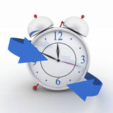 Alarm-clock with blue arrows Royalty Free Stock Image