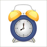 Alarm clock blue awakening time, isolated on background. Stock Images