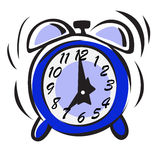 Alarm clock. Blue alarm clock. Cartoon Royalty Free Stock Photo