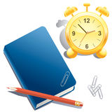 Alarm clock, book, pencil and paper clip. Blue Book, red pencil, paper clips and a golden clock on a white background stock illustration