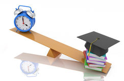 Alarm clock with Books and Cap. 3D Rendering Image Stock Images
