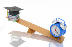 Alarm clock with Books and Cap. 3D Rendering Image Royalty Free Stock Photo