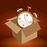 Alarm clock in box. Royalty Free Stock Photo
