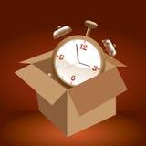 Alarm clock in box. Royalty Free Stock Photo