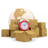 Alarm clock, a box, a planet. Render on a white background Royalty Free Stock Photos