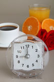 Alarm clock and breakfast Stock Photo