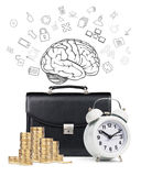 Alarm clock,  briefcase, coins , map isolated Royalty Free Stock Photo