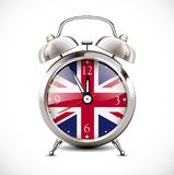 Alarm clock with british flag on clock face learning concept vector illustration
