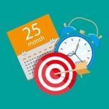 Alarm clock, calendar, target. Time management Stock Image