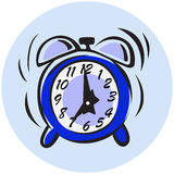 Alarm clock in the caricature style. Blue alarm clock  drawn in the caricature style Stock Photography