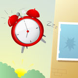 Alarm clock cartoon. Ironic cartoon with annoying alarm clock flying out of window Royalty Free Stock Photo