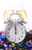 Alarm Clock with Champagne Glass Royalty Free Stock Photography