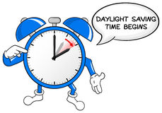 Alarm clock change to daylight saving time. Vector illustration of a alarm clock switch to summer time daylight saving time begins stock illustration
